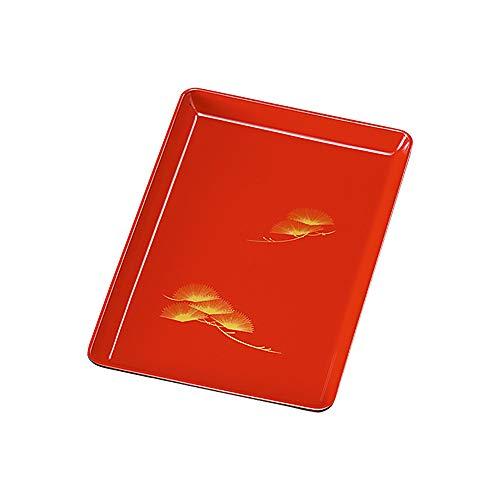 紀州塗り 7寸 21cm 木質 切手盆 朱 松