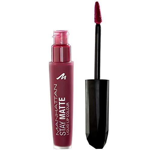 Manhattan Stay Matte Liquid Lip Colour, Matter, wisch- und wasserfester Lippenstift für langanhaltende Farbintensität, Farbe Statue Of Burgundy 600, 1 x 5,5ml