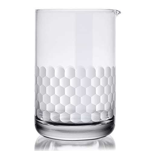Cocktail Mixing Glass - Honeycomb Hammered Bar Mixer Pitcher for Stirred Drink - Seamless and Handcrafted of Crystal Glass, 24-ounce