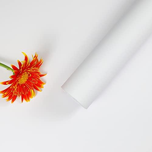 Oxdigi Klebefolie Möbel, Verdickt Möbelfolie selbstklebend Matt Tapete, ohne Glanz Küchenfolie, Wasserfest Dekofolie für Schrank Arbeitsplatte Wand 0.6x5M, Weiß, Einfach zu installieren