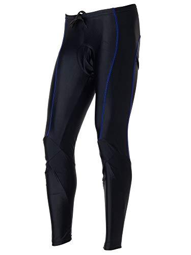 Wellcls(ウェルクルズ) メンズ ロング 3Dゲルパッド付 サイクリングタイツ 春夏用 自転車 黒×青 XXL(92-98cm)