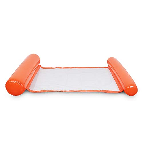 JeromKewin Aufblasbare Luftmatratze, schwimmendes Bett, Hängematte, Lounge-Sessel, für Schwimmbad, Strand, für Erwachsene Orange