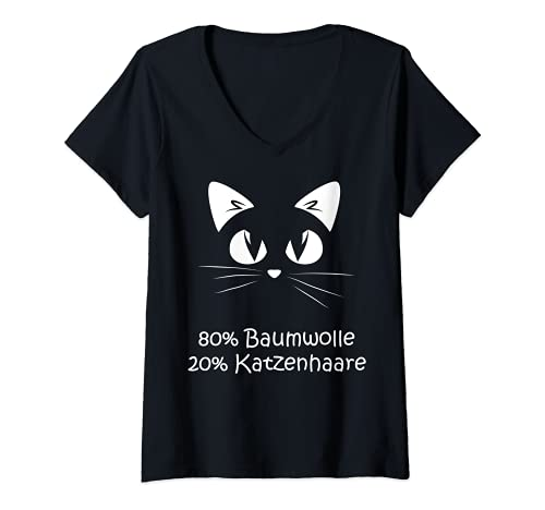 Damen Baumwolle Katzenhaare - Spuren Von Katze - Cat Sprüche T-Shirt mit V-Ausschnitt