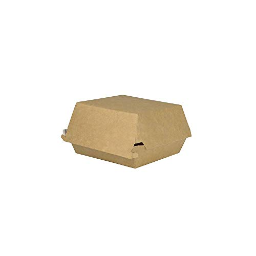 BIOZOYG Take Away Burger Box 75 pieces I Burger boxes with hinged lid I Hamburger box made of fresh fibre carton I To Go Burger packaging fat resistant brown-white 11.5 x 10.5 x 8 cm I recyclable