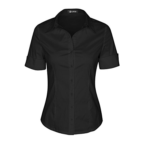 SUNNOW Modisch Damen Shirt Kurzarm Revers Schlank Hemd Arbeit V-Ausschnitt mit Knöpfe Casual Einfarbig Oberteil Bluse Sommer Gr.- EU 42/XL, Schwarz)