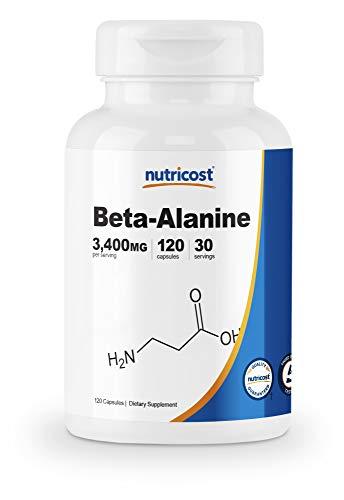 Nutricost Beta-Alanine Capsules 3400mg, 120 Caps (30 Serv) - Potent Beta Alanine, Gluten Free & Non-GMO, 850mg Per Cap