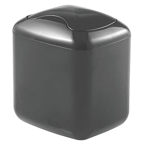 mDesign Papelera con Tapa basculante para sobremesa – Cubo