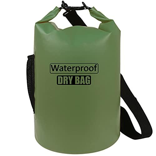 AILGOE Mochila impermeable de 5 l, 10 l, 15 l, 20 l, 25 l, 30 l y 40 l, con correa para el hombro ajustable para barco, kayak, deportes acuáticos (verde militar, 15 L)