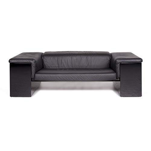 Walter Knoll International Brigadier Leather Sofa Black Cini Boeri Two-Seater Couch