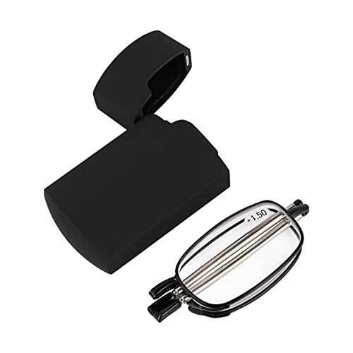 DOITOOL Folding Reading Glasses Portable Compact Folding Unisex Glasses Black Frame Flat Reading Glasses with Case for Men Women the Elderly Reader Gift