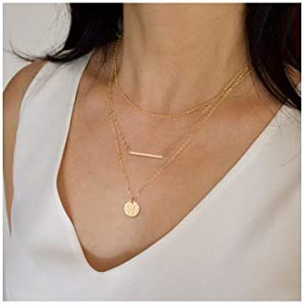 Ldurian Layered Necklace Set of 3 Beaded Choker with Coin Bar Pendant Multilayer Chain Dainty product image