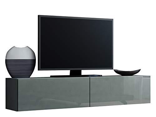 Mirjan24 TV Schrank Vigo, Fernsehschrank, TV Lowboard mit Grifflose Öffnen, Hängeschrank Hochglanz Matt Wohnwand (Länge: 140 cm, Grau/Grau Hochglanz)