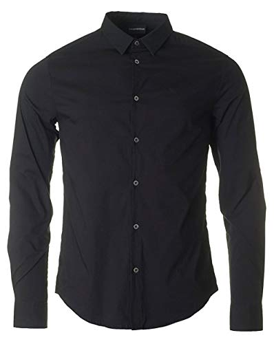 Armani Herren Baumwoll-Stretch-Popeline-Hemd L Black