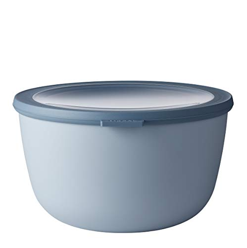 Mepal Multischüssel Cirqula rund Blue – 3000 ml Inhalt – mit abnehmbarem Deckel – bruchfestes Material-auslaufsicher – tiefkühlgeeignet-spülmaschinengeeignet, PP/TPE, Nordic Blau