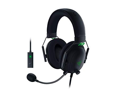 Razer BlackShark V2 Gaming Headset: THX 7.1 Spatial Surround Sound - 50mm Drivers - Detachable Mic - PC, PS4, PS5, Switch, Xbox One, Xbox Series X & S, Mobile - 3.5 mm Audio Jack & USB DAC - Black