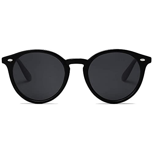 SOJOS Classic Retro Round Polarized Sunglasses for Women Men SJ2069 ALL ME Bright Black/Grey
