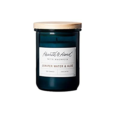 Hearth and Hand Magnolia Lidded Jar Container Candle 8oz Farmhouse Joanna Gaines Collection (Juniper Water & Aloe)