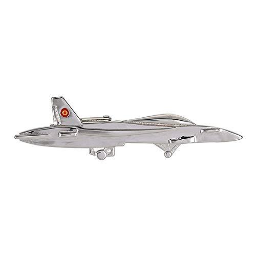 Gemelolandia Pasador de Corbata del Avión McDonnell Douglas F/A-18 Hornet Escarapela España Color Acero | Pisa Corbatas Para usar en Bodas y en Eventos formales | Da un toque Elegante
