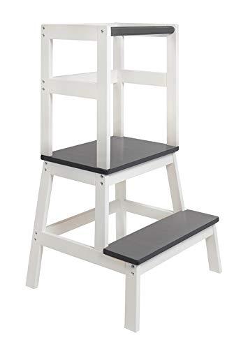 BOMI® Babystuhl Swubi aus Holz für Kinder ab dem Stehalter | Hocker zweistufig extra hoch | Trittschemel, Tritthocker für Mädchen und Jungen | Schemel mit 2 Stufen für Kinderzimmer und Küche