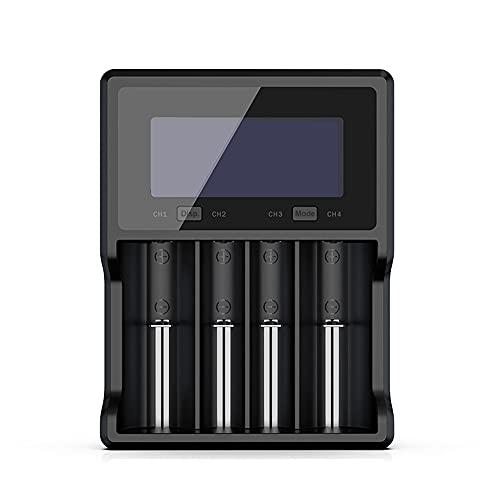 MKIU Cargador De Batería 18650, Qc3.0 Vc4s LCD Cargador Rápido Universal para 18650 26650 21700 18350 AAA AA Baterías Recargables 3.7v 1.2v Nimh Battery