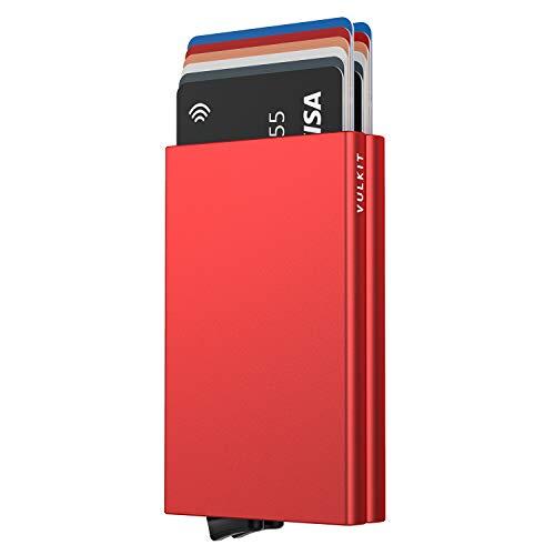 VULKIT Alpha Tarjetero Doble Caja de Metalico RFID Bloqueo Tarjeteros para Tarjetas de Credito Hombre o Mujer hasta 10 Tarjetas Rojo