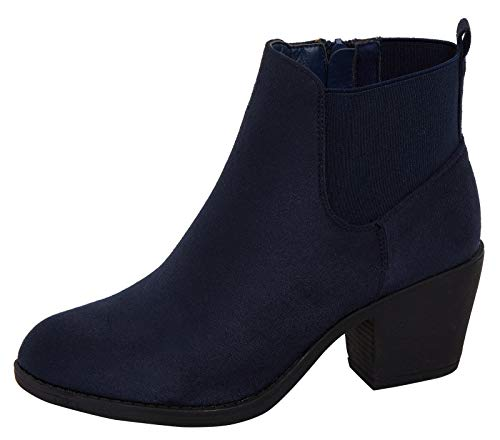 Botines para mujer con tacón de Lora Dora, tallas 37 a 43, color Azul, talla 37 1/3