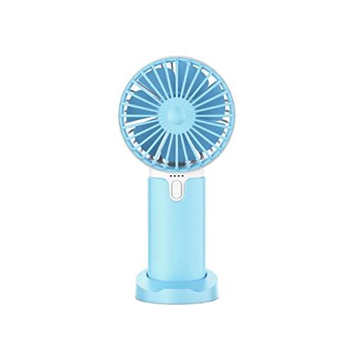 Mini-ventilator, Handheld Draagbare USB-ventilator Met Oplaadbare Batterij 2400 MAh Utdoor Cooling Hand Desk Fan for Thuis, Op Kantoor, Metro En Reizen (Color : Blue)