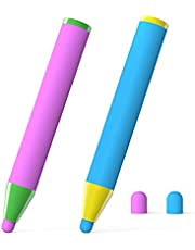 Ciscle タッチペン 子供用スタイラスペン 握りやすい クレヨン形 ほとんどの絵描きAPPに対応 iPad/iPhone/Androidに対応 誕生日プレゼント クリスマ スギフト 2本組 ブルー ピンク