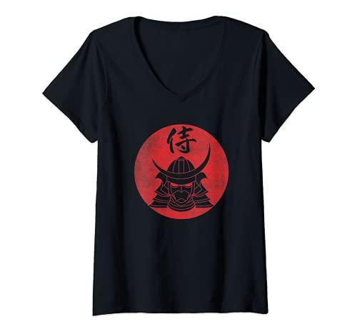 Donna Elmo da guerriero Samurai Caratteri Kanji giapponesi - Nero Maglietta con Collo a V