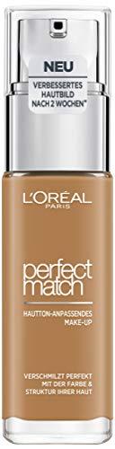 L'Oréal Paris Perfect Match Make-up 7.D/7.5W Golden Chestnut, flüssiges Make-up, hautton-anpassend, pflegt die Haut mit Hyaluron und Aloe Vera