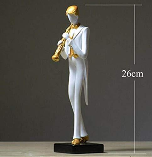 Esculturas,Música Moderna Artista Estatuillas De Resina Decorativos para El Hogar Elegante Caballero De Oboe Hombres Amantes De La Música, Figuras Adornos De Escritorio