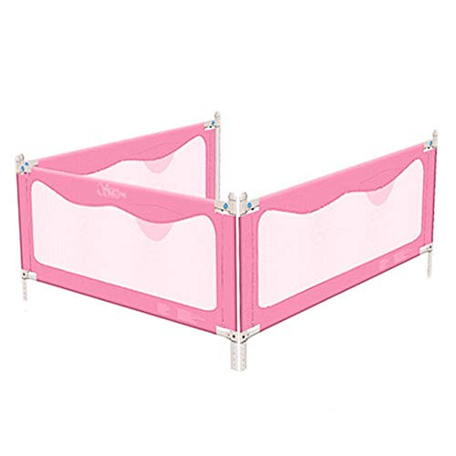 Sale!! ZHAOHUI-Bed Rails for Toddlers Bed Railing Safety Height Fence Anti-Fall Bed Guard Vertical Lift 3 Sides Bumpers Easy to Install, 3 Sizes (Color : Pink, Size : 1.5m+1.8mx2)