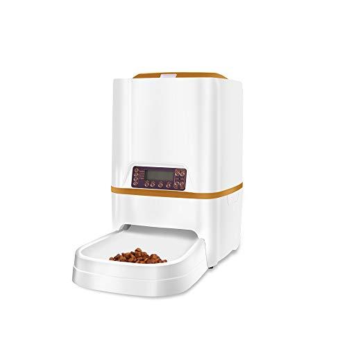 自動給餌器 6L大容量 最大20日連続自動給餌 猫 中小型犬用 ペット自動餌やり機 1日4食 タイマー式 録音可 ...