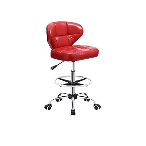 Goodhelper - Barhocker / Bürostuhl / Drehstuhl / Rollstuhl mit Rollen und Rückenlehne, höhenverstellbar, ergonomischer Stuhl, 8 Farboptionen (Farbe: Rot)