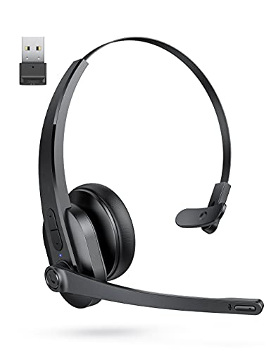 Bluetooth Headset with Microphone, Wireless Headset with USB Adapter for PC, Noise Cancel Mic, On Ear Headset with Microphone for Truckers/Call Center/Office