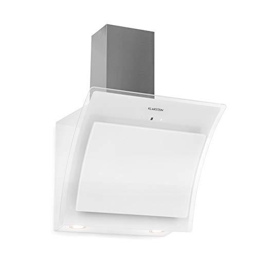 KLARSTEIN Sabia - Hotte aspirante, 600m³/h, 3 vitesses Filtres à graisse, Eclairage LED, Verre de sécurité, Kit de montage complet, Ecran télescopique, 60 cm - Blanc