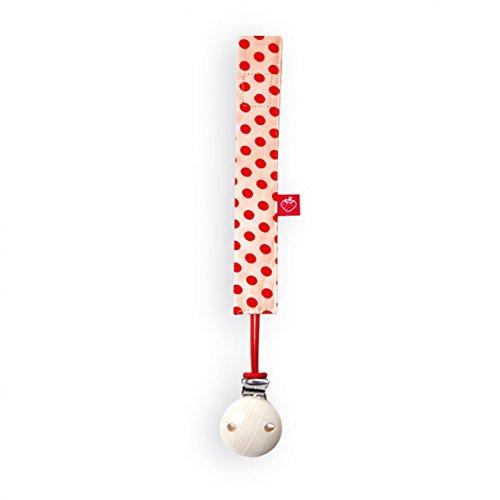 La fraise rouge 4251005603284 Amélie Attache Sucette avec attache sucette, Orange avec motif à pois rouge