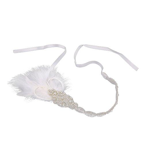 Blanc 1920 Gatsby Plume Bandeau Flapper pour Cheveux Fascinateur Headpiece