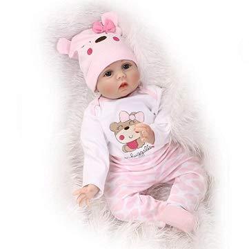 Pinky Reborn Handmade 22 Pollici 55cm Silicone Morbido Realistico Dall'aspetto Bambole Rinate Realistico Bambola Appena Ragazza Giocattolo Magnete Bocca Regalo Natale