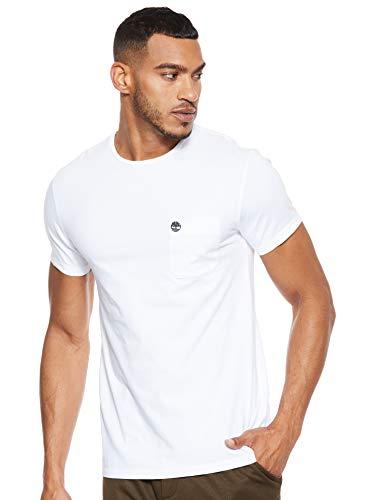 Timberland SS Dunstan River Pocket Slim Tee T-Shirt, Bianco (White 100), X-Large Uomo