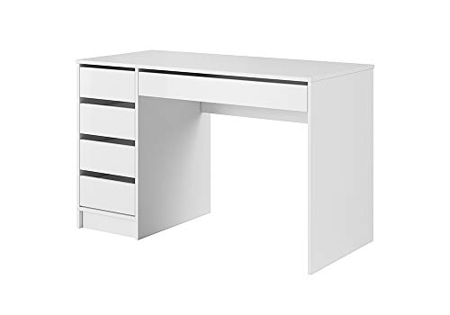 KRYSPOL Schminktisch ADA Schreibtisch, Computertisch, Schülerschreibtisch, Arbeitstisch, Modern Design (Weiß Matt + Weiß Matt)