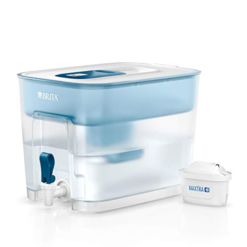 Brita Flow Cask Water Dispenser Tap 8.2L with 1 x Maxtra+ Filter Cartridge Camping Picnic - Blue