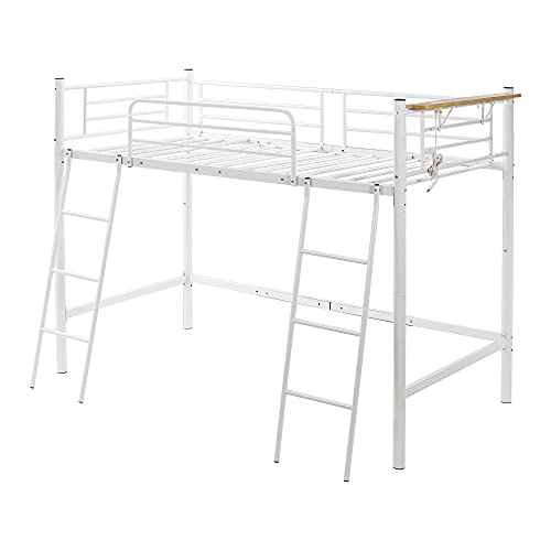 ロフトベッド ベッド シングルベッド パイプベッド 二段ベッド ハイタイプ パイプベッド コンセント付き 二段ベッド ロータイプ パイプベッド シングル パイプベッド パイプ 金属 はしご (白い)