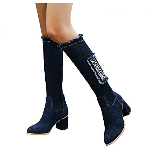 Padaleks Botas de combate para mujer, vaqueras, tacón grueso, punta redonda, estilo vaquero, hasta la rodilla, para mujer