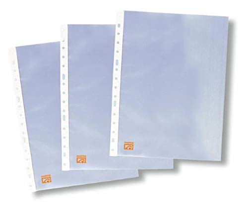 Mattio - Fundas multitaladro folio-cristal, 90 micras, 100 unidades, transparente