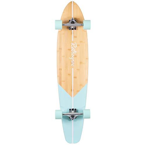 Retrospec Zed Bamboo Longboard Skateboard Complete Cruiser, Aqua Fishtail