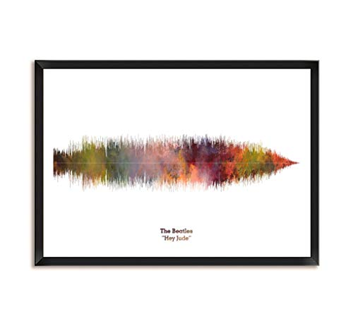 LAB NO 4 The Beatles Band Hey Jude Song Soundwave Print Music Lyrics Framed Poster in A3 Size