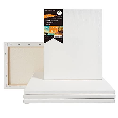 CONDA 16x20 inch Stretched Canvas for Painting, Pack of 5, Primed, 100% Cotton...