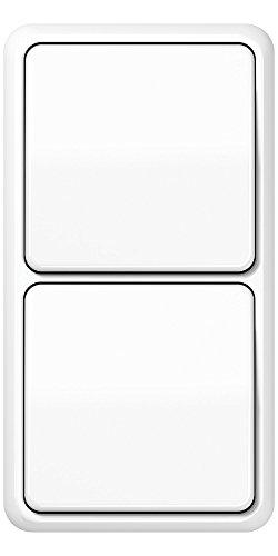 Komplett-Set Jung CD 500 Rahmen, 2-fach, bruchsicher - Alpinweiß, glänzend mit 2x Wippe + 2x Wippschalter, Universal Aus-Wechse -JUNG- -weiß-
