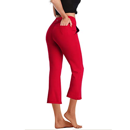 DAYOUNG Womens Bootcut Yoga Pants High Waist Flared Long Bootleg Trousers for Running Pants YWK18 Red S